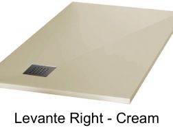 Shower tray 165 cm in mineral resin, angle drain, bung on the right - LEVANTE cream