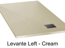 Shower tray 165 cm in mineral resin, drainage in angle, drain on the left - LEVANTE cream