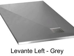 Shower tray 165 cm in mineral resin, drainage in angle, drain on the left - LEVANTE grey