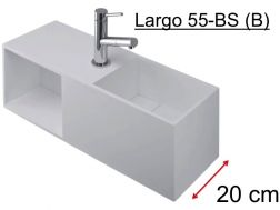 Washbasin furniture deluxe 20 cm, Solid Surface white-matt, with storage space - LARGO 55 BS (B) benesan