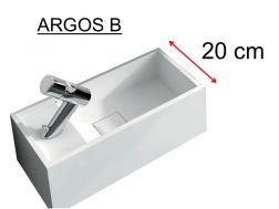 Washbasin, 20 x 40 cm, solid surface, tap left - ARGOS