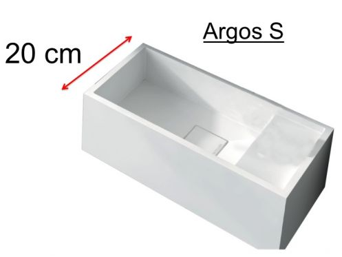 Hand basin, 20 x 40 cm, solid surface, without tap hole, right hand beach - ARGOS