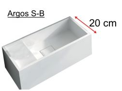 Hand washbasin, 20 x 40 cm, solid surface, without tap hole, beach on the left - ARGOS