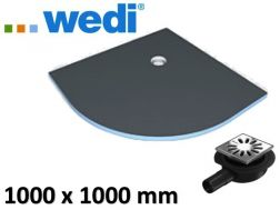 Tiled shower tray, quadrant, outflow -  Wedi Fundo Borgo 1000 x 1000 mm - 100x100 cm