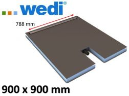 Shower tray to be tiled with drainage linear drain and integrated flow - WEDI Fundo Plano Linea 900x900 mm