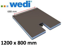 Shower tray to be tiled with drainage linear drain and integrated flow - WEDI Fundo Plano Linea 1200 x 800  mm
