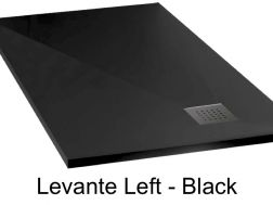 Shower tray 195 cm in mineral resin, drainage in angle, drain on the left - LEVANTE black