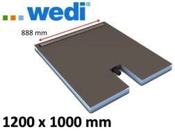 Shower tray to be tiled with drainage linear drain and integrated flow - WEDI Fundo Plano Linea 1200 x 1000 mm