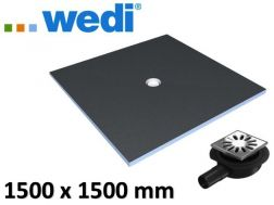Shower tray to be tiled, square format, centered flow - wedi Fundo Primo 1500 x 1500 mm