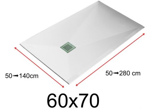 Shower tray - 60x70 cm - 600x700 mm - in mineral resin, extra flat - White LISSO