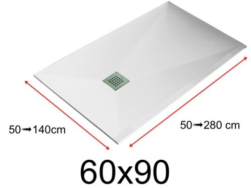 Shower tray - 60x90 cm - 600x900 mm - in mineral resin, extra flat - White LISSO
