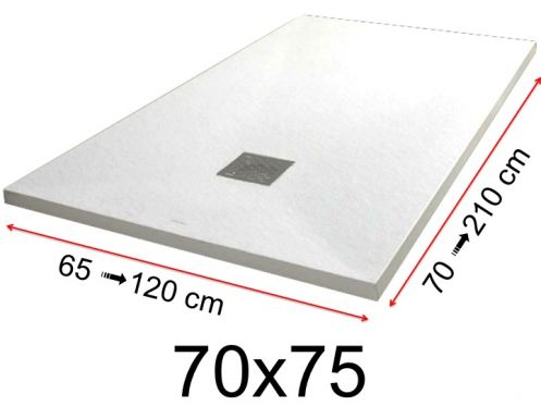 Shower tray - 70x75 cm - 700x750 mm - in mineral resin, extra flat - White PIERRE