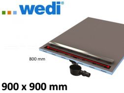 Shower tray tile, square-shaped linear flow grille - catcher Wedi Fundo Riolito Neo 900 x 900 mm
