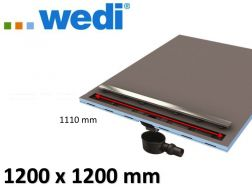Shower tray to be tiled, square-shaped linear flow grille - receiver Wedi Fundo Riolito Neo 1200 x 1200 mm