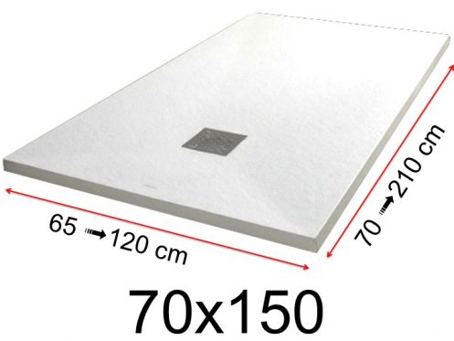 Shower tray - 70x150 cm - 700x1500 mm - in mineral resin, extra flat - White PIERRE