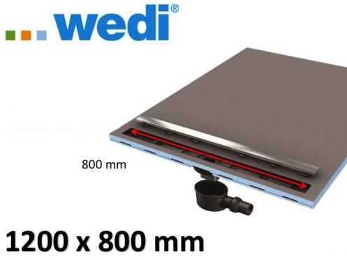 Shower tray tile, rectangular, linear flow grille - Shower tray Wedi Fundo Riolito Neo 1200 x 800 mm