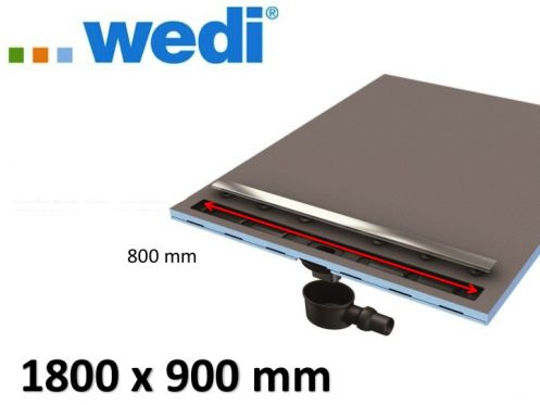 Shower tray tile, rectangular, linear flow grille - Shower tray Wedi Fundo Riolito Neo 1800 x 900 mm
