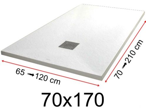 Shower tray - 70x170 cm - 700x1700 mm - in mineral resin, extra flat - White PIERRE