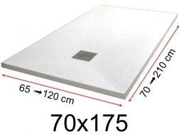 Shower tray - 70x175 cm - 700x1750 mm - in mineral resin, extra flat - White PIERRE