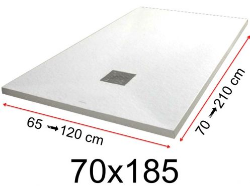 Shower tray - 70x185 cm - 700x1850 mm - in mineral resin, extra flat - White PIERRE