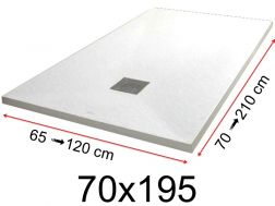 Shower tray - 70x195 cm - 700x1950 mm - in mineral resin, extra flat - White PIERRE