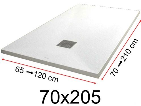 Shower tray - 70x205 cm - 700x2050 mm - in mineral resin, extra flat - White PIERRE