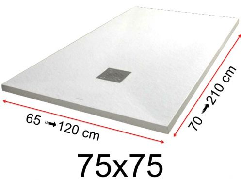 Shower tray - 75x75 cm - 750x750 mm - in mineral resin, extra flat - White PIERRE