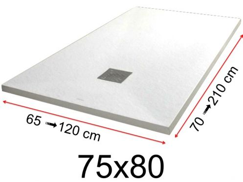 Shower tray - 75x80 cm - 750x800 mm - in mineral resin, extra flat - White PIERRE