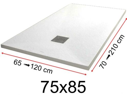 Shower tray - 75x85 cm - 750x850 mm - in mineral resin, extra flat - White PIERRE