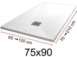 Shower tray - 75x90 cm - 750x900 mm - in mineral resin, extra flat - White PIERRE