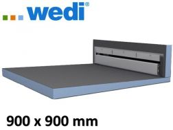 Tile shower tray with wall drain - Wedi Fundo Riolito Discreto 900 x 900 mm