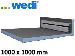 Tile shower tray with wall drain - Wedi Fundo Riolito Discreto 1000 x 1000 mm
