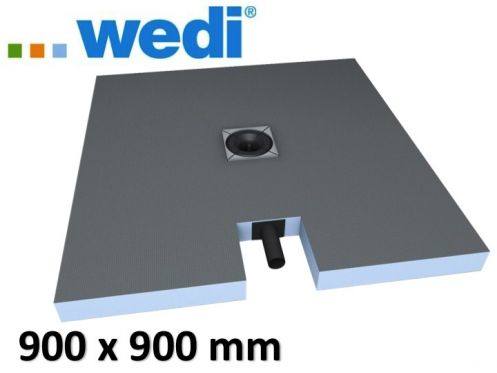 Shower tray to be tiled, central drain, with integrated drain - Wedi Fundo plano 900 x 900 mm