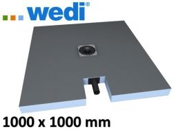 Shower tray to be tiled, central drain, with integrated drain - Wedi Fundo plano 1000 x 1000 mm