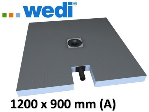 Shower tray to be tiled, central drain, with integrated drain - Wedi Fundo plano 1200 x 900 mm