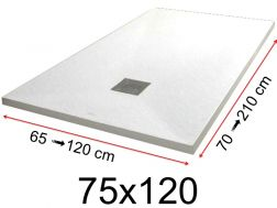 Shower tray - 75x120 cm - 750x1200 mm - in mineral resin, extra flat - White PIERRE