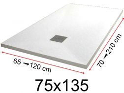 Shower tray - 75x135 cm - 750x1350 mm - in mineral resin, extra flat - White PIERRE
