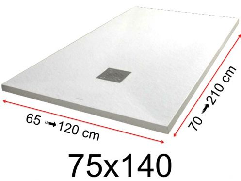 Shower tray - 75x140 cm - 750x1400 mm - in mineral resin, extra flat - White PIERRE
