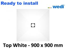 Wedi shower tray with ready-to-install Solid Surface coating Corian type - wedi Fundo Top Primo 900 x 900 mm white