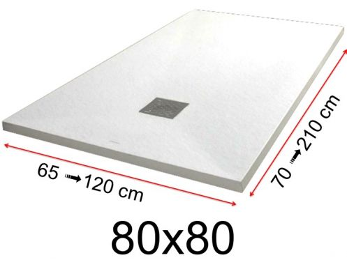 Shower tray - 80x80 cm - 800x800 mm - in mineral resin, extra flat - White PIERRE