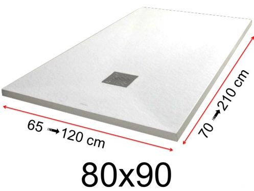 Shower tray - 80x90 cm - 800x900 mm - in mineral resin, extra flat - White PIERRE