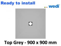 Wedi shower tray with ready-to-install Solid Surface coating Corian type - wedi Fundo Top Primo 900 x 900 mm grey