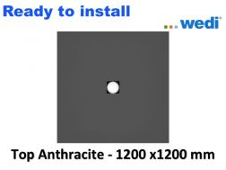 Wedi shower tray with ready-to-install Solid Surface coating Corian type - wedi Fundo Top Primo 1200x1200 mm anthracite