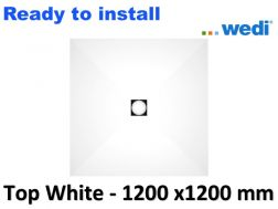 Wedi shower tray with ready-to-install Solid Surface coating Corian type - wedi Fundo Top Primo 1200x1200 mm white
