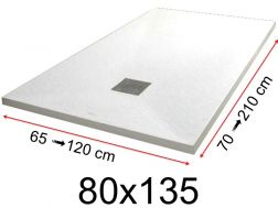 Shower tray - 80x135 cm - 800x1350 mm - in mineral resin, extra flat - White PIERRE