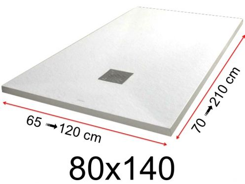 Shower tray - 80x140 cm - 800x1400 mm - in mineral resin, extra flat - White PIERRE
