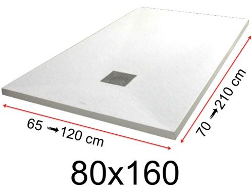 Shower tray - 80x160 cm - 800x1600 mm - in mineral resin, extra flat - White PIERRE