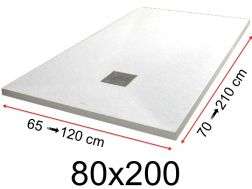 Shower tray - 80x200 cm - 800x2000 mm - in mineral resin, extra flat - White PIERRE