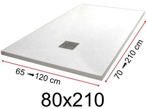 Shower tray - 80x210 cm - 800x2100 mm - in mineral resin, extra flat - White PIERRE