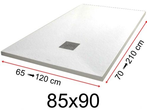 Shower tray - 85x90 cm - 850x900 mm - in mineral resin, extra flat - White PIERRE